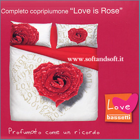 LOVE IS ROSE Completo lenzuola letto matrimoniale BASSETTI