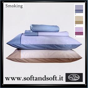 SMOKING lenzuola FLANELLA  matrimoniale Fazzini