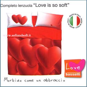 LOVE IS so SOFT Completo lenzuola letto matrimoniale BASSETTI