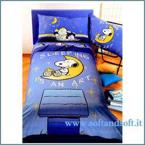 SNOOPY Notturno Completo lenzuola una piazza