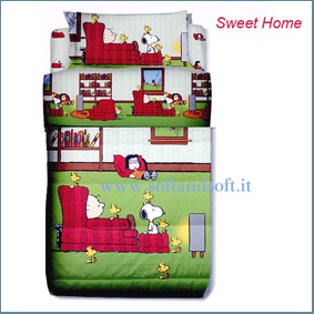 SNOOPY Sweet Home Completo lenzuola una piazza