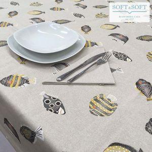 ACQUARIO Set Tavolo in Puro Cotone per 6 Tovaglia cm 140x180 + Tovaglioli