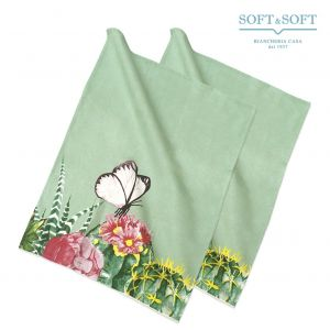 CACTUS Set 2 Dishcloths 50x70 in Pure Printed Cotton