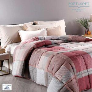 DEVON microfibre quilt for double bed 260x265 CALEFFI - Coral