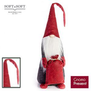 Gnomo Present in feltro con cappuccio barba e sacco regali alto cm 60