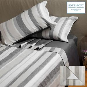 STRIPED LINEN DOUBLE size sheets with yarn-dyed linen border