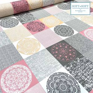 SQUARES plastic coated fabric for tablecloth H cm140