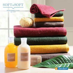 TERRE bath towel set 1+1 in pure cotton terry BIANCALUNA