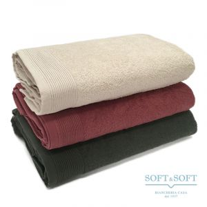TERRE bath towel 100x145 plain colour cotton terry by BIANCALUNA