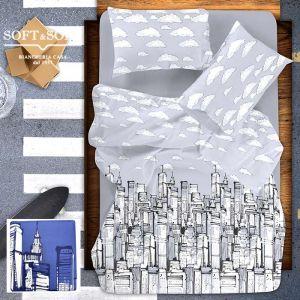 sacco copripiumino per letto matrimoniale stampa grattacieli New York grigio o Blu