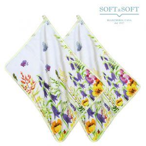 VINTAGE Couple Pure Cotton Dishclothes cm 50x70 Printed Flowers