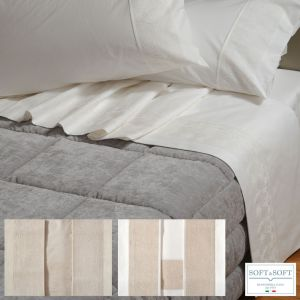 AFRODITE completo lenzuola matrimoniale balza misto lino