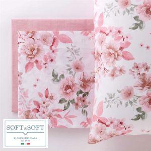 ANASTASIA Completo Lenzuola Misura MATRIMONIALE Puro Cotone-Rosa