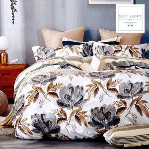 copripiumino matrimoniale sacco in tessuto di cotone blu con disegni geometrici sul bianco e beige