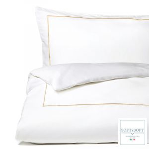 PERCALLE BACCHETTA pair of pillowcases 3 ruffles beige cordonetto