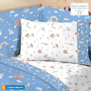 BETTA Sheets for Cot with sides BIANCALUNA Celeste