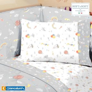 BETTA Sheet Set for Cot with sides BIANCALUNA Grey