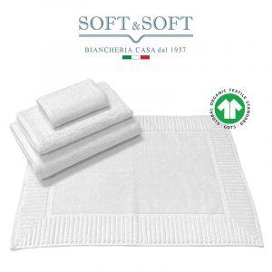 COTONE BIOLOGICO Set Biancheria Bagno Asciugamani e Tappetino 4 pz. 500 gr/m² - Biosoffy Bianco
