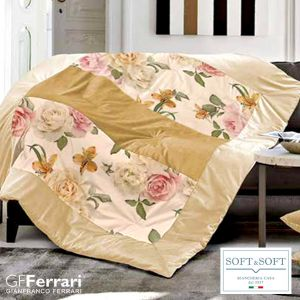 BORDIGHERA plaid patchwork imbottito in velluto 130x160