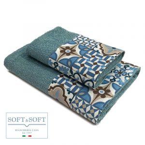 CEMENTINA  set asciugamani 1+1 balza maiolica-Azzurro