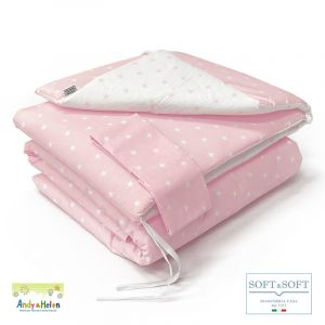 STELLINA F1 duvet + cot bumper with Andy & Helen pink sides