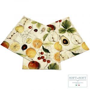 FRUTTA Set 3 Strofinacci da Cucina cm 50X70 Stampa Digitale
