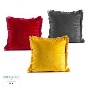 MAISON cuscino arredo velluto 42x42 bordo frange