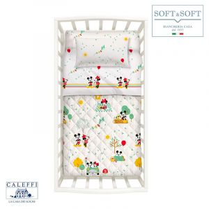 MICKEY & MINNIE spring quilted bedcover for Cots Disney CALEFFI