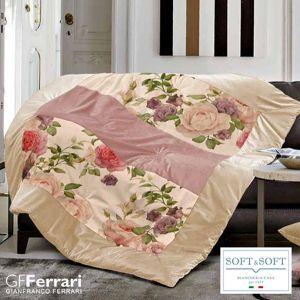MONTERCARLO plaid patchwork imbottito in velluto 130x160