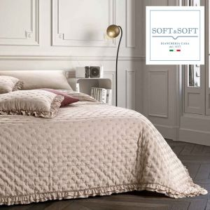 NADIA spring summer quilted bedspread for double bed 260x260 GFFerrari Tortora