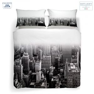 NY BLACK & WHITE complete duvet cover for DOUBLE CALEFFI digital print
