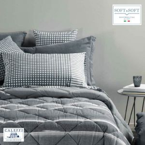 QUADRETTI Sheet Set for DOUBLE Bed in Grey CALEFFI Cotton