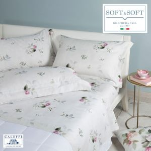 ROSE AND FLOWERS CALEFFI Ivory cotton satin bed linen set
