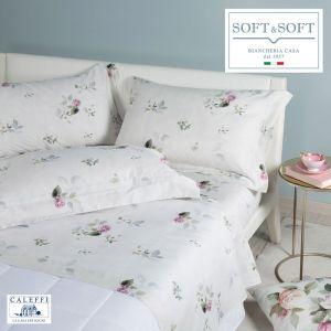 ROSE E FIORI completo lenzuola MATRIMONIALE raso di cotone CALEFFI Avorio
