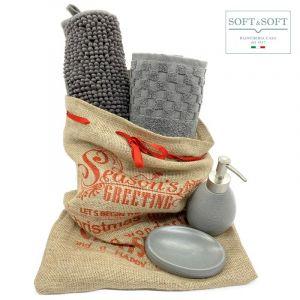 SET REGALO GREY porta saponetta, dispenser, coppia ascigamani e tappetino