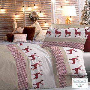 Sacco copripiumino da letto singolo a quadretti tipo Kilt a fondo rosso natalizio o beige con righe rosse.