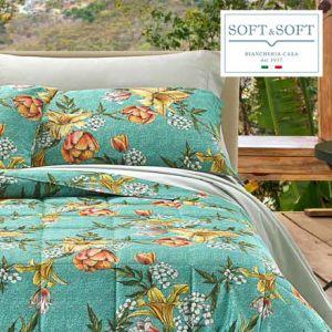 SUMMER complete satin flounce sheets with 4 GFFERRARI pillowcases