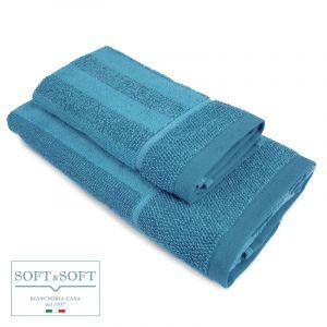 VERSILIA set asciugamani jacquard viso e ospite-Blu