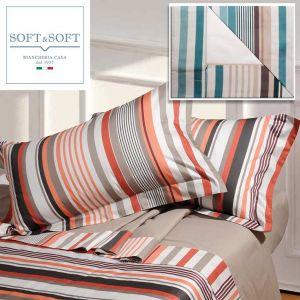 YORK completo lenzuola letto francese con bordo in Raso di Cotone Made in Italy 2 federe