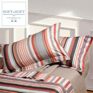 YORK completo lenzuola letto francese con bordo in Raso di Cotone Made in Italy 2 federe-Arancio