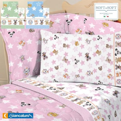 ALEX Complete sheets for cot with sides BIANCALUNA