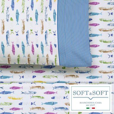 ALICE completo lenzuola singolo stampato pesci