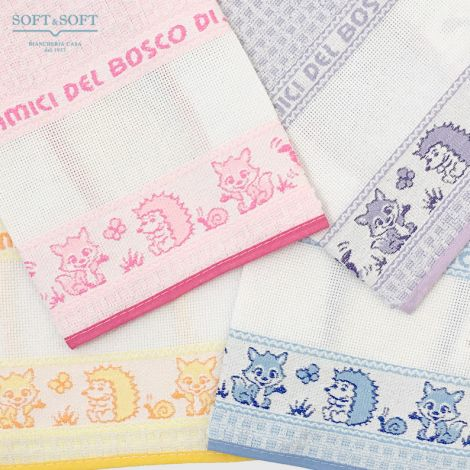 Bib and towel set for kindergarten children with aida cloth for embroidery Amici del Bosco