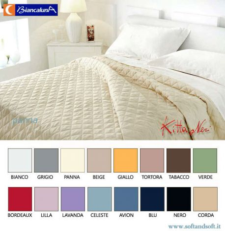 ANAIS Cotton Satin Quilted Bedcover for double bed BIANCALUNA