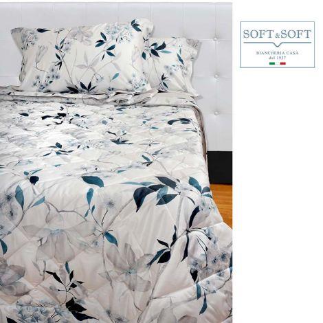 Angelica copriletto primaverile estivo trapuntato in Raso di puro Cotone-Azzurro