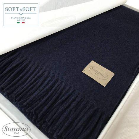 ANTEPRIMA plaid in Cashmere cm 130x180 con frange colore Blu Notte