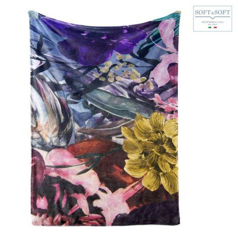 ATELIER coperta plaid matrimoniale pile stampa digitale per letto o divano cm 210x240