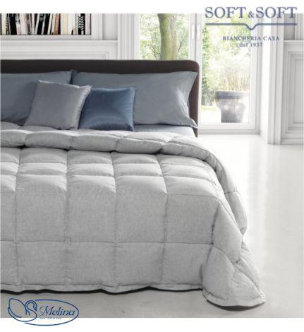 trapunta invernale piuma d'oca matrimoniale tessuto puro lino grigio beige