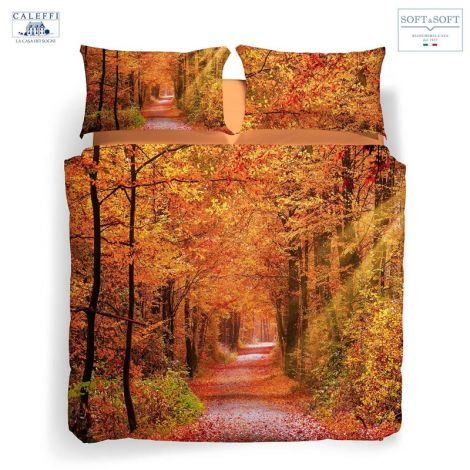 AUTUMN LEAVES duvet cover set for DOUBLE CALEFFI digital print