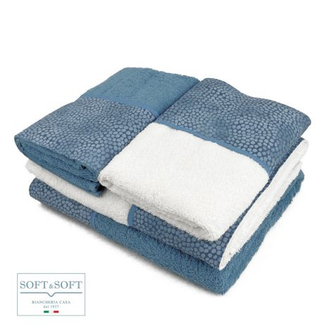 BALZA COCCO 4-piece house towel set pure cotton with frill-Azzurro